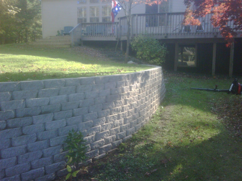 retaining wall completed